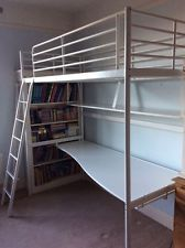 I like the BOOKSHELF LOCATION      IKEA TROMSÖ Loft bed frame with study desk & shelf - GREY
