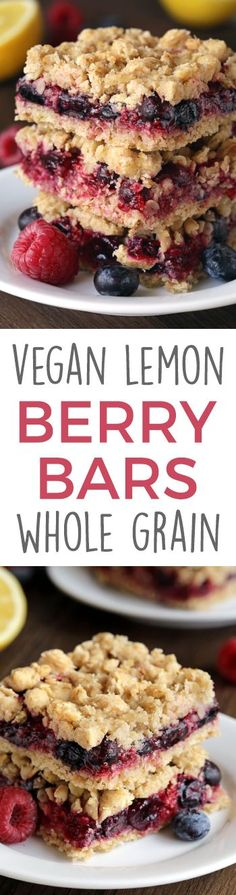 Berry Bars (vegan, whole grain, dairy-free options)