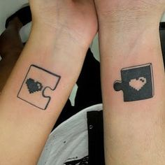 This puzzling pair that has it all figured out. | 23 Gorgeously Geeky Couple Tattoos