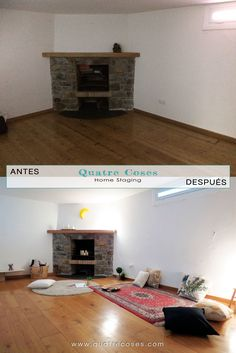 antes y despues de home staging en sotano con chimenea