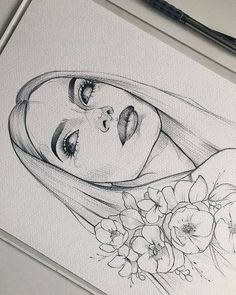 ✔ Aesthetic Drawing Sketches We Heart It Girl Drawing Sketches, Art Drawings Sketches Simple, Art Drawings Beautiful, Pencil Art Drawings, Cute Drawings, Drawing Ideas, Portrait Sketches, Drawing Faces, Happy Face Drawing