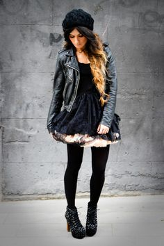 Leather jacket, poof skirt with tights, & those platform heels!!! :23 Rock Style Fashion