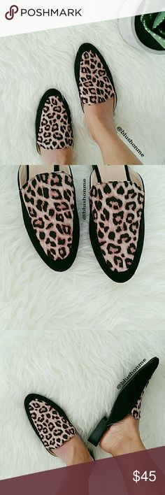 """Leopard Print Slip On Mules Flats @blushonme at Poshmark   Leopard Print Slip On Mules Flats  Vegan Suede   Soft and very comfortable!   True to size   Heel - Approx 1""""  PLEASE ASK QUESTIONS BEFORE BUYING. ALL SALES ARE FINAL. NO RETURNS. NO EXCHANGES.   ● PRICE IS FIRM ●  Box not included  Boutique brand  No Trade Shoes Flats & Loafers"""