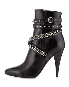 Saint Laurent Chain-Wrapped Tumbled Leather Boot, Black