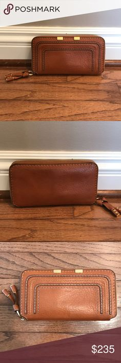 Tan authentic Chloe zip wallet Beautiful tan authentic Chloe zippered wallet. In great condition, small pen mark near top corner & some small scratches on zipper. Loved this wallet so much I bought a new one just like it! So much storage & amazing Chloe leather & details. Chloe Bags Wallets