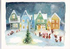 Julkort, dubbelvikta, 14,5 x 10 cm, av den finska konstnärinnan Minna Immonen