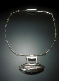 Jill Baker Gower Lipstick Necklace, sterling silver; mirror; lipstick, 2004 (close & open)