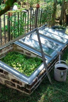 A mini greenhouse made from recycled bricks & windows.