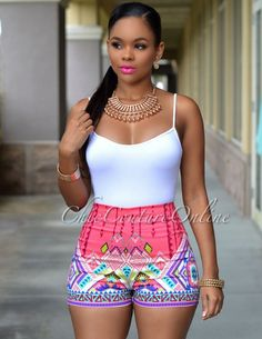 79370626200 Halle Black White Stripes Ruffle Silky Romper. See more. Bria Coral  Multi-Color Print High-Waist Shorts African Outfits