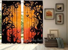 Halloween wall décor is especially twisted, creepy and spooky for Halloween 2017.  In fact you can marvel at ghostly Halloween Wall decorations ranging from creepy skulls, Silly pumpkins, sleek black cats, frightening monsters and other creepy frights.  Great Halloween Holiday wall décor makes Halloween wicked cool.   Indian Hand Tie Dye Halloween Spooky Pumpkin Tapestry Curtain, Tapestry Drapes, Curtain Drape Panel Sheer Scarf Valances,