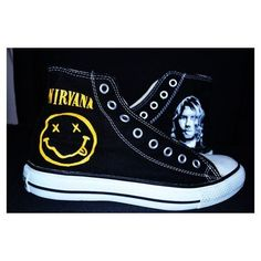 Nirvana handpainted converse shoes ❤ liked on Polyvore featuring shoes, shoes/boots, converse footwear, acrylic shoes, lucite shoes, converse shoes and star shoes