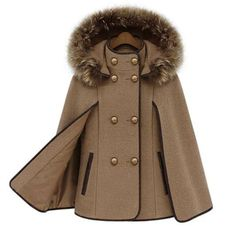 KHAKI CAPE Stand Collar Double Breasted Cape Mantle