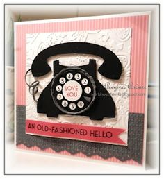 An old-fashioned hello. Telephone-themed valentine. Too cute!