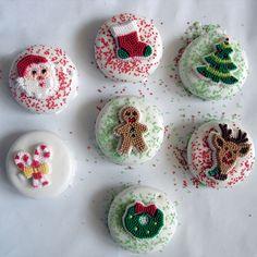 Christmas ornament adorned White Chocolate Covered Oreos.
