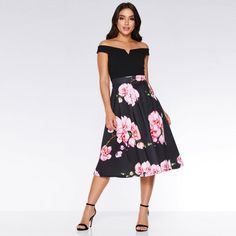 Black and Pink Bardot Floral Dress