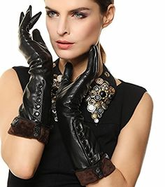 Looking for Women's Touchscreen Long Elbow Length Winter Fleece Lined Gloves Buttons ? Check out our picks for the Women's Touchscreen Long Elbow Length Winter Fleece Lined Gloves Buttons from the popular stores - all in one. Black Leather Gloves, Lambskin Leather, Leather Pants, Elegant Gloves, Button Decorations, Cold Weather Gloves, Dress Gloves, Women's Gloves, Long Gloves