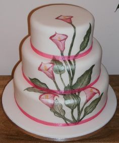 patterns for painted cakes | Cake Decorating: Three tier hand painted calla lily cake