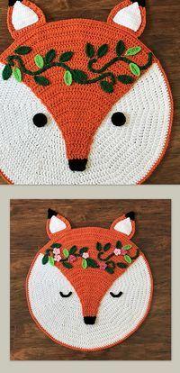 Crochet Woodland Fox Rug Pattern by Deborah O'Leary Patterns #crochet #nursery #decor #baby #pattern