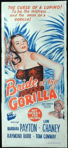 1951 western movie poster Belgian | 1951 Vintage Daybill poster Voodoo Curse! - Bride of the Gorilla (1951 ...