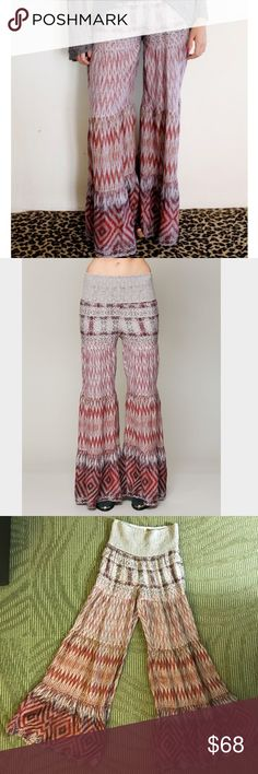 """🌻FREE PEOPLE🌻OCEAN DRIVE PALAZZO PANTS🌻 Chevron printed wide leg trouser style pants featuring a high rise with a smocked elastic waistband. Lightweight fabric. Short lining inside. 100% Rayon lining 55%Rayon 45%cotton machine washable. Some stretch waist 13"""" and length 44"""". Let it flow 😊 Free People Pants"""