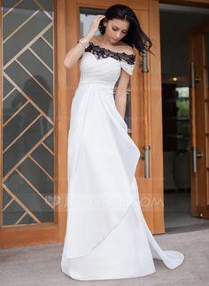 Evening Dresses - $134.99 - Sheath/Column Off-the-Shoulder Watteau Train Chiffon Evening Dress With Ruffle Lace (017047379) http://jjshouse.com/Sheath-Column-Off-The-Shoulder-Watteau-Train-Chiffon-Evening-Dress-With-Ruffle-Lace-017047379-g47379