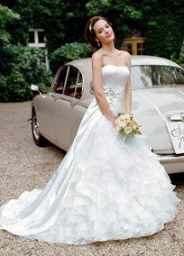 Satin Ball Gown with Ruffled Organza Underlay