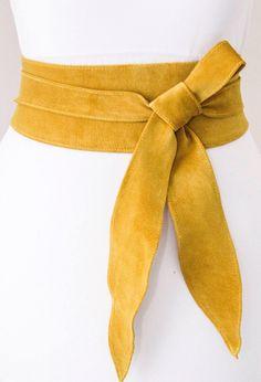 Yellow suede obi belt https://www.etsy.com/uk/listing/510648160/mustard-yellow-suede-tulip-tie-obi-belt