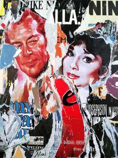Umberto Alizzi My fair lady Audrey Hepburn décollage collage manifesto movie poster mimmo rotella pop art
