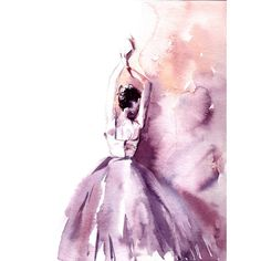 Ballerina Original Watercolor Painting, Modern Ballet Watercolour Art,... ($140) ❤ liked on Polyvore featuring home, home decor and wall art
