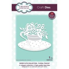 Creative Expressions - Paper Cuts collection dies, new stamps, and new embossing folders Paper Cutting, Step By Step Instructions, Tea Cups, Floral, Creative, Stamps, Crafts, Collection, Catalog