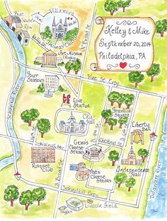 Custom Wedding Map Hand Drawn Wedding Map-Watercolor by Penmagic