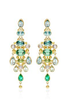 One of a Kind Aquamarine, Zinc and Sapphire Chandelier Earrrings by Mallary Marks - Moda Operandi