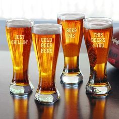 Beer Sayings Pilsner Glasses - Set of 4 Novelty Beer Glasses