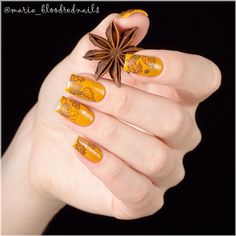 Yellow and Bronze Fall Inspired Nails