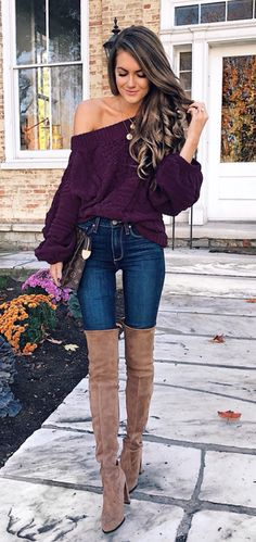 #winter #outfits purple off-shoulder long-sleeved shirt, blue denim jeans, pair of brown suede thigh-high boots outfit