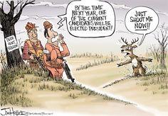 Deer Hunting, Joe Heller,Green Bay Press-Gazette,deer hunting season, gun, shoot me now, whitetail, NRA, buck, candidates, election 2016, president elect