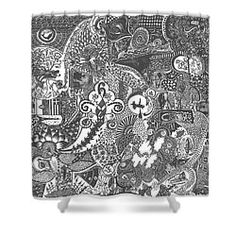 Shower Curtain featuring the drawing A Doodle Story by Ajanta Roy Chaudhury
