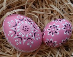 Set of 3 Decorated Green Chicken Eggs Polish Pysanky by EggstrArt