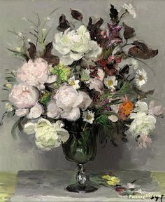 Peonies Artwork by Marcel Dyf Hand-painted and Art Prints on canvas for sale,you can custom the size and frame