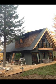 Tiny House Cabin, Tiny House Design, Cabin Homes, Log Homes, Casa Dos Hobbits, Plan Chalet, A Frame House, Cottage Plan, Cabins And Cottages