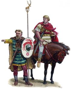 """""""Arminius (18/17 BC – AD 21), also known as Armin or Hermann (Arminius being a Latinization, similar to Brennus), was a chieftain of the Germanic Cherusci who defeated a Roman army in the Battle of the Teutoburg Forest"""". ~ He had lived in Rome as a hostage in his youth, where he had received a military education, and obtained Roman citizenship as well as the status of equestrian (petty noble) before returning to Germania and driving the Romans out. Art By Andreas Gagelmann"""