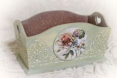 Photo New Crafts, Diy Crafts For Kids, Gifts For Kids, Sewing Crafts, Decoupage Box, Decoupage Vintage, Vintage Crafts, Tole Painting, Painting On Wood