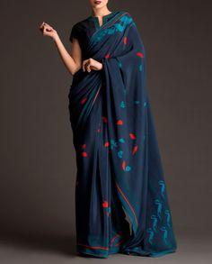 Midnight Blue Machine Embroidrd Sari