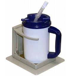 Designed for people with hand tremors, paralysis, Parkinson's disease, arthritis, uncontrolled movement and disabilities that restrict hand movement necessary for drinking independently. This cup or mug holder will not slip, fall over or tilt.  Freedom Cupholder with Vacuum Base