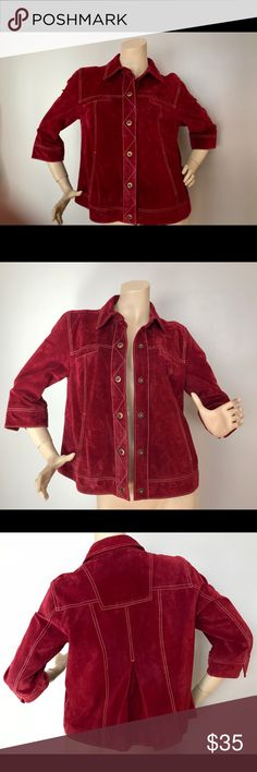 Coldwater Creek Red Suede Jacket, Large Good Condition, No Stains, Spots, Rips, or Holes. (SEE PHOTOS FOR MEASUREMENTS) Please check measurements against a similar item from your own closet.  Comes from a Smoke Free Home, No Pets. Thank You for Looking!!! Coldwater Creek Jackets & Coats Jean Jackets