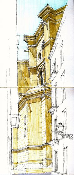 Sketchbook pages of architecture