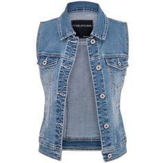 maurices Medium Wash Denim Vest (1.810 RUB) ❤ liked on Polyvore featuring outerwear, vests, jackets, tops, medium sandblast, metallic vest, blue vest, sleeveless waistcoat, blue denim vest and denim waistcoat