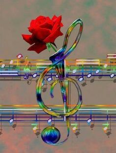 Musical Rainbow Vase with Red Rose Sound Of Music, Music Is Life, My Music, Rose Music, Music Pics, Music Stuff, Music Pictures, Musik Wallpaper, Music Symbols