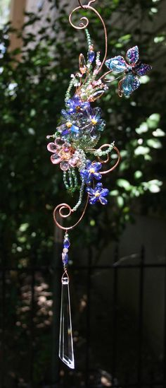 Large Wire Wrapped Copper and Crystal Suncatcher  One of a