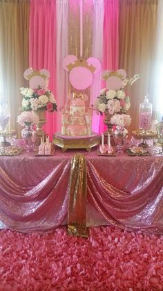 Pink and gold royal Minnie Mouse birthday party! See more party planning ideas at CatchMyParty.com!